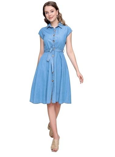 Butikburuç Kadın Koyu Mavi Bel Kuşaklı Sıfır Kol Kot Elbise Mavi